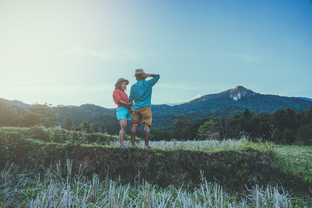 lover woman and man asian travel nature. Travel relax. Natural Touch countryside. Thailand