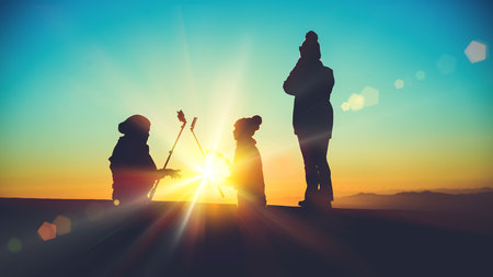 People Asian travel nature. Travel relax. Natural Touch countryside. watch the sun rise. In summer. Selfie photo with mobile phone