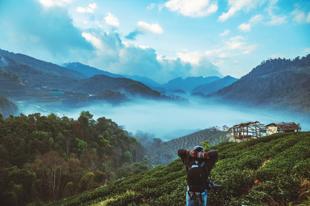 man asian travel nature. Travel relax. Natural park on the Moutain. Thailand Stock Photo