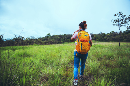 woman Asian travel nature. Travel relax. Walk study the path Nature in the forest Stock Photo