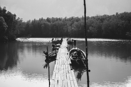 Traveling life, fishing boats, black and white photos. Asia Thailand 스톡 콘텐츠
