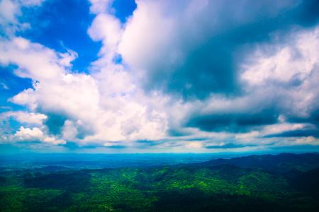 High angle view. Cloud mountain sky Banco de Imagens