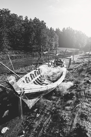 Traveling life, fishing boats, black and white photos. Asia Thailand Stock Photo