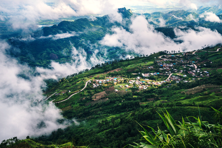 Mountain view Village in the valley In the morning Asia Tropical. Thailand