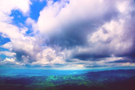 High angle view. Cloud mountain sky Banco de Imagens - 121629400