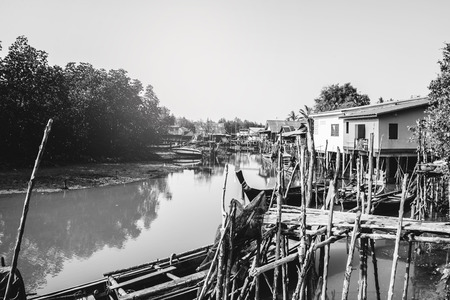 background landscape. The fishing village life style black and white picture.