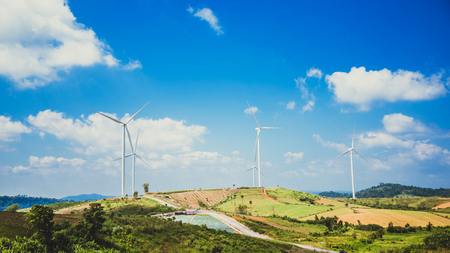 wind turbine Electrical generating. On the mountain. Thailand