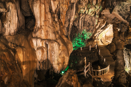 Travel Asia holiday. landscape inside stalagmite caves in Asia, Laos