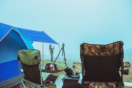 men asians travel relax camping in the holiday. On the moutain.Thailand Stock fotó