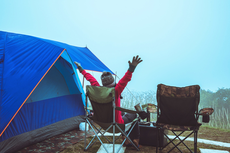women asians travel relax camping in the holiday. On the moutain.Thailand Stock fotó