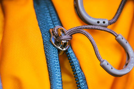 Travel bag. Zip lock on the backpack yellow.