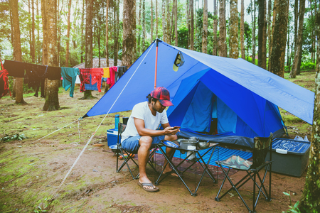 travel relax in the holiday. camping on the Mountain. at national park Doi inthanon Chiangmai. in Thailand Stock Photo