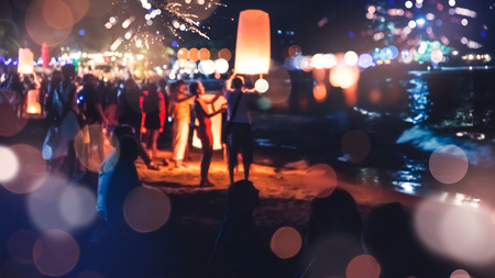 People Celebrate New Year. Fireworks circle blur. Colorful in celebration. Thailand Beach Archivio Fotografico