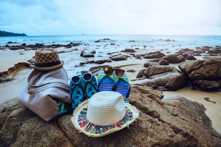 Travel nature summer holiday vector background. sunglasses shoes hat Shoulder Bag.Travel relax. Stok Fotoğraf