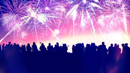 Background festive New Year with fireworks. New Year fireworks. People celebrate New year day Stok Fotoğraf