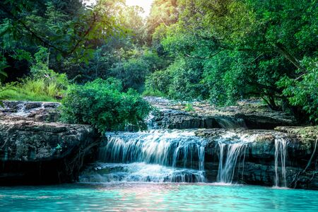 Natural background waterfall. Waterfall Emerald Poo thailandl 写真素材