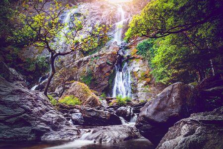 background Wallpaper nature Waterfall. Khlong lan Waterfall thailand