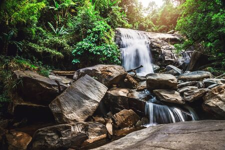 background Wallpaper nature Forest Hill Waterfall. thailand doi inthanon Stock fotó