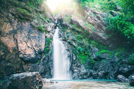 Natural background waterfall. jogkradin waterfall thailand tropical