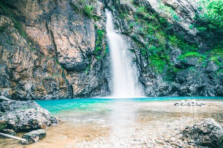 Natural background waterfall. jogkradin waterfall thailand tropical