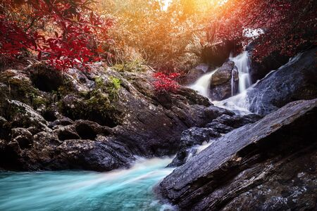 Natural background waterfall. waterfall Colorful leaves. thailand tropical Reklamní fotografie - 125201568