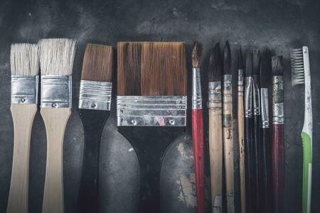 background Brush Watercolor paintbrush. full frame Stock Photo