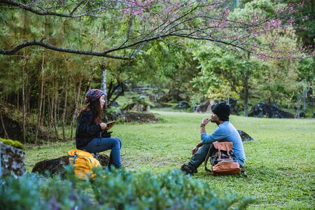 Couples travel nature and sitting reading books under the tree pink sakura flower