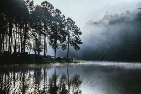 travel  Beatiful nature panorama view of Pang Ung lake in the mist at sunrise. 版權商用圖片