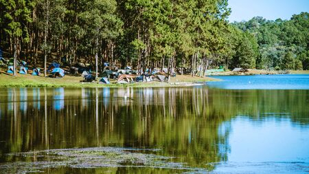 The beautiful natural landscape of the lake at pang ung, mae hong son in Thailand.