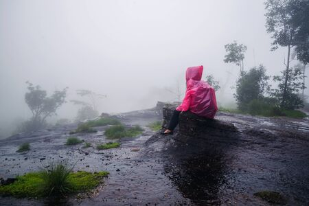 tourist with pink rain coat Sitting View the scenery natural beautiful touch fog at Phu Hin Rong Kla National Park. travel nature, Travel relax, Travel Thailand, rainy season. Stock fotó