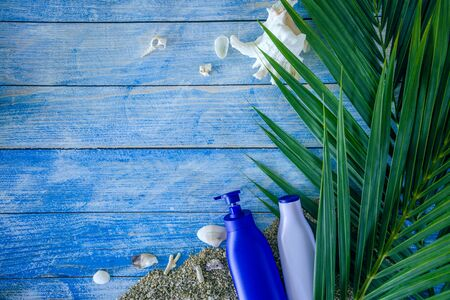 Beach outfit Accessories On bright blue background - Summer Holiday