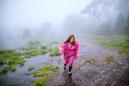 tourist with pink rain coat walking travel adventure nature in the rain forest. travel nature, Travel relax, Travel Thailand, rainy season.