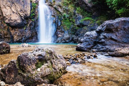 Natural background Landscape photo jogkradin in the deep forest at Kanchanaburi in Thailand. Emerald waterfall, travel nature, Travel relax, Travel  Thailand, Waterfall picture, Landscape photo. 版權商用圖片
