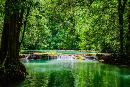 Landscape Waterfall Than Bok Khorani. (Thanbok Khoranee National Park) at Krabi. lake, nature trail, forest, mangrove forest, travel nature, travel Thailand, Nature Study. Attractions.