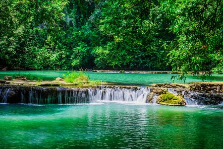 Landscape Waterfall Than Bok Khorani. (Thanbok Khoranee National Park) at Krabi. lake, nature trail, forest, mangrove forest, travel nature, travel Thailand, Nature Study. Attractions.