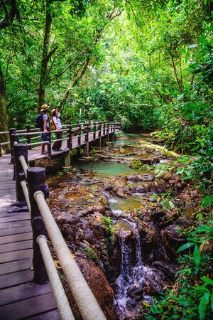 Asian couple happy travel the mangrove forest. Travel walking on a wooden bridge. Nature trail, Thanbok waterfall, recreation, travel, backpacks, nature, tourism, countryside, style, forest, adventure
