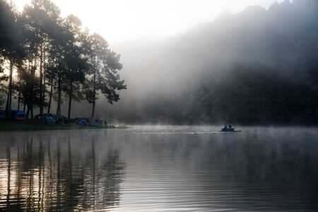camping and travel  Beatiful nature panorama view of Pang Ung lake in the mist at sunrise. 版權商用圖片 - 127639563