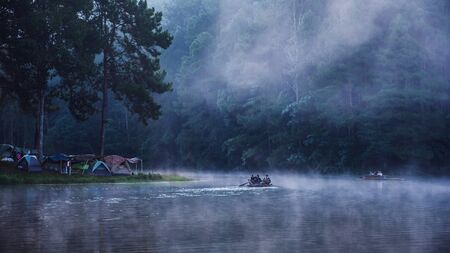 camping and travel  Beatiful nature panorama view of Pang Ung lake in the mist at sunrise. 版權商用圖片 - 127639682