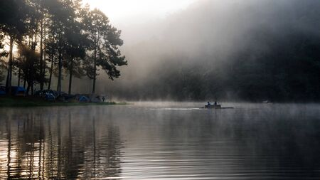 camping and travel  Beatiful nature panorama view of Pang Ung lake in the mist at sunrise. 版權商用圖片 - 127639684