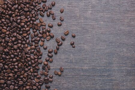 coffee beans isolated on Black background. with copy space for your text