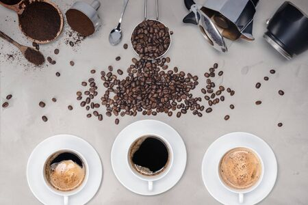 Background with assorted coffee, coffee beans, Cup of black  coffee, Coffee maker equipment Banco de Imagens