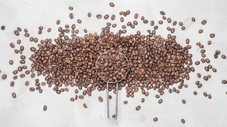 coffee beans on a white background with copy space for your text