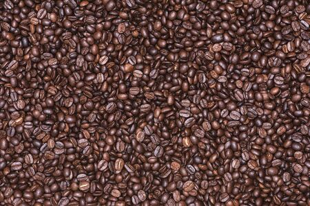 Roasted coffee beans background, Photo coffee close up Banco de Imagens