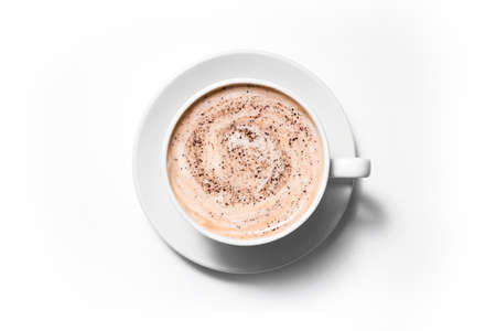 Cup coffee cappuccino on a white background, Full frame 版權商用圖片