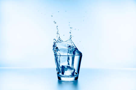 water splash collection on blue background