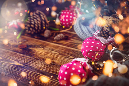 Christmas decoration balls and ornaments over abstract bokeh background with copy space. Holiday background greeting card for Christmas and New Year. Merry Christmas