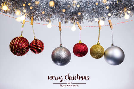 Christmas decoration bell and ornaments on abstract bokeh background on white background Holiday background greeting card for christmas and new year Merry christmas Reklamní fotografie