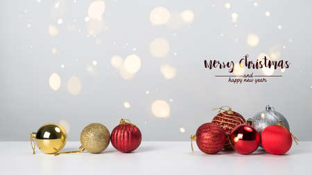Christmas decoration balls pine and ornaments over abstract background on white background. Holiday background greeting card for Christmas and New Year. Merry Christmas Standard-Bild - 157132299