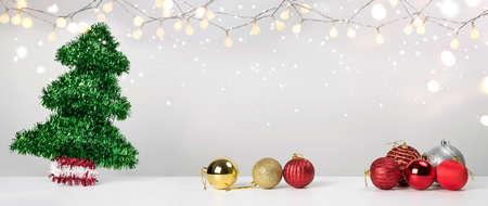 Christmas decoration balls pine and ornaments over abstract background on white background. Holiday background greeting card for Christmas and New Year. Merry Christmas