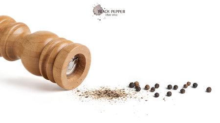 Black pepper seeds on white background